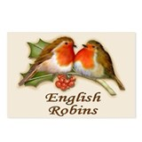 English Robins & Holly Postcards (Package of 8)