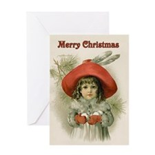 Girl with Snowballs Greeting Card
