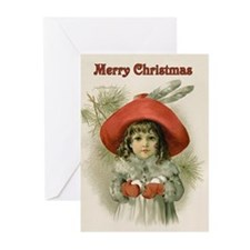 Girl with Snowballs Greeting Cards (Pk of 10)
