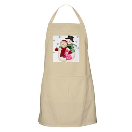 Frosty Snowman & Family-Pink BBQ Apron