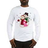 Frosty Snowman & Family-Pink Long Sleeve T-Shirt