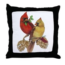 Winter Cardinals Throw Pillow