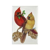 Winter Cardinals Rectangle Magnet (10 pack)