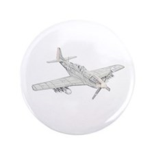 """WW2 P-51 Mustang Air Plane 3.5"""" Button (100 pack)"""