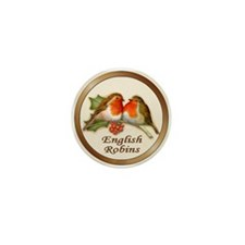 English Robins & Holly Mini Button (10 pack)