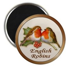 English Robins & Holly Magnet