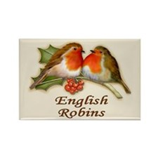 English Robins & Holly Rectangle Magnet (10 pack)