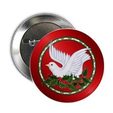 Christmas Dove on Holly Button