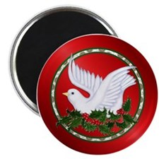 Christmas Dove on Holly Magnet (10 pk)