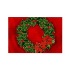 Christmas Holly Wreath Rectangle Magnet