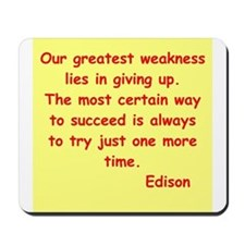 Thomas Edison quotes Mousepad