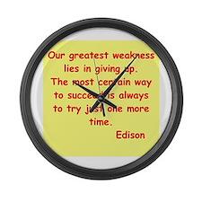 Thomas Edison quotes Large Wall Clock