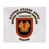 SOF - USASOC Flash with Text Throw Blanket