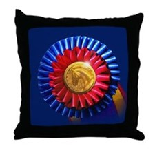 Horse Show Blue, Red Ribbon Throw Pillow