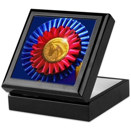 Horse Show Blue, Red Ribbon Keepsake Box