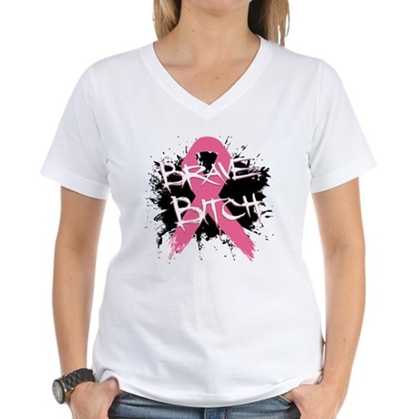 Brave Bitch Breast Cancer Women's V-Neck T-Shirt