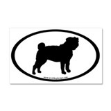 Pug Oval Car Magnet 20 x 12