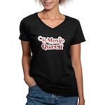 B Movie Queen Women's V-Neck Dark T-Shirt