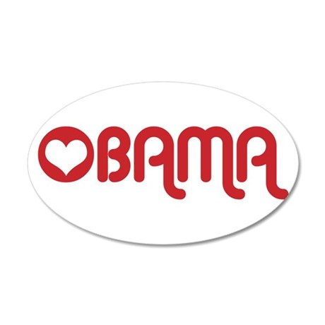 Red Heart Obama 22x14 Oval Wall Peel