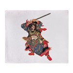 Japanese Samurai Warrior Throw Blanket