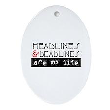 Headlines & Deadlines Ornament (Oval)