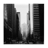 Chicago Black & White Tile Coaster