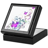 Bright Purple Butterflies Keepsake Box