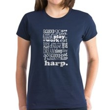 Eat, Sleep, Work, Play Harp Tee