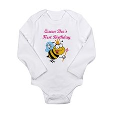 Queen Bee's First Birthday Long Sleeve Infant Body