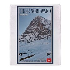 The Eiger and Train Throw Blanket