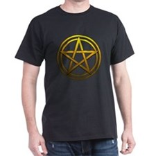 Gold Metal Pagan Pentacle T-Shirt
