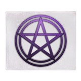 Purple Metal Pagan Pentacle Throw Blanket