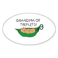 Grandma of Triplets Pod Oval Decal