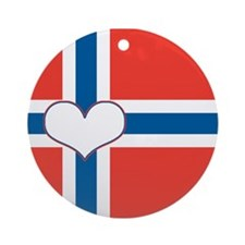 norwegian flag heart Ornament (Round)