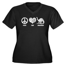 Peace Love Dinosaurs Women's Plus Size V-Neck Dark