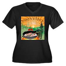 Cute Sunrise Women's Plus Size V-Neck Dark T-Shirt