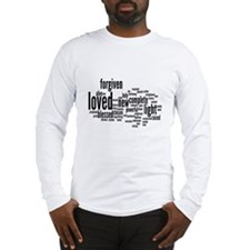 Who I am in Christ Word Collage Long Sleeve T-Shir