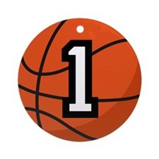 Basketball Player Number 1 Ornament (Round)