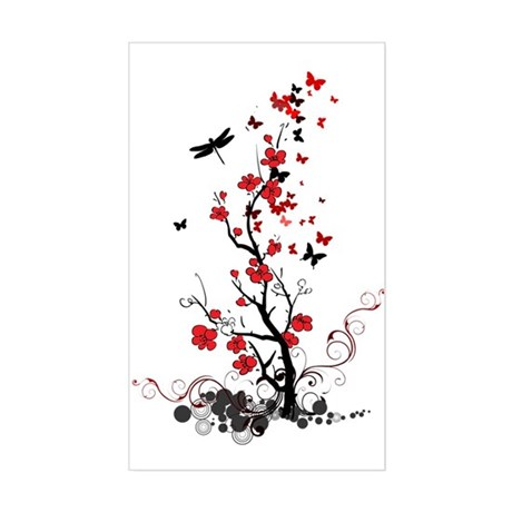 Black and Red Flowers Sticker (Rectangle)