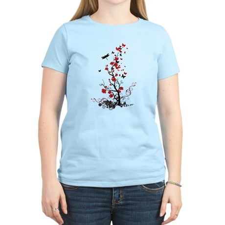 Black and Red Flowers Women's Light T-Shirt