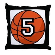 Basketball Player Number 5 Throw Pillow