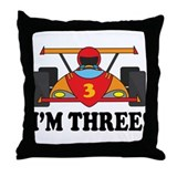 Racing Car 3rd Birthday Throw Pillow