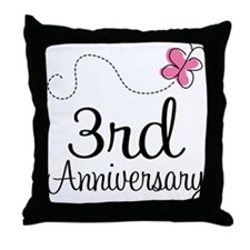 3rd Anniversary Gift Butterfly Throw Pillow