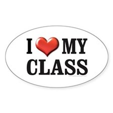 I Heart (Love) My Class Oval Decal