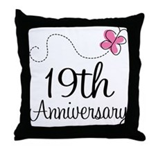 19th Anniversary Gift Butterfly Throw Pillow