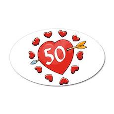 50th Valentine 22x14 Oval Wall Peel