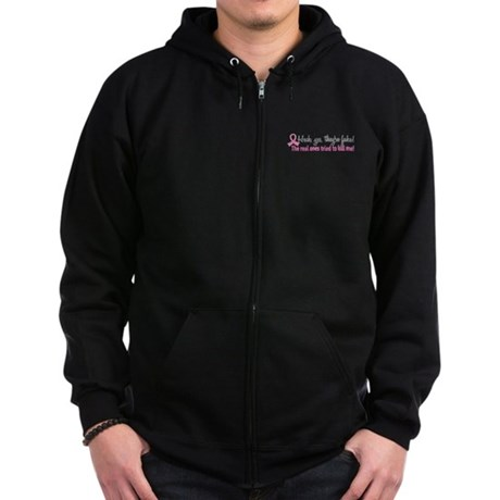 Yes They're Fake Breast Cancer Zip Hoodie (dark)
