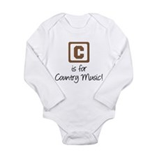 C Is For Country Music Long Sleeve Infant Bodysuit
