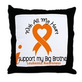 With All My Heart Leukemia Throw Pillow