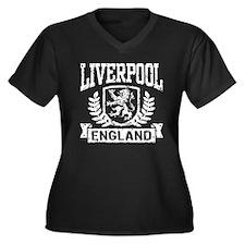 Liverpool England Women's Plus Size V-Neck Dark T-